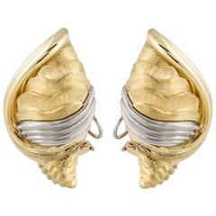 Henry Dunay Two-Tone Shell Clip Earrings