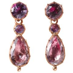 Georgian Amethyst Gold Day and Night Earrings