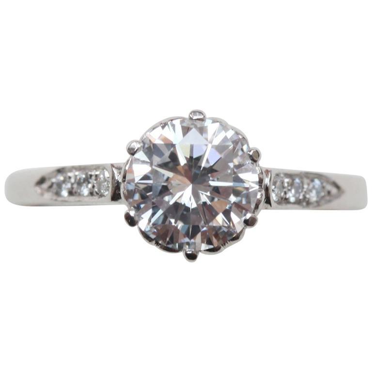 1.28 Carat Diamond Platinum Solitaire Heart Ring