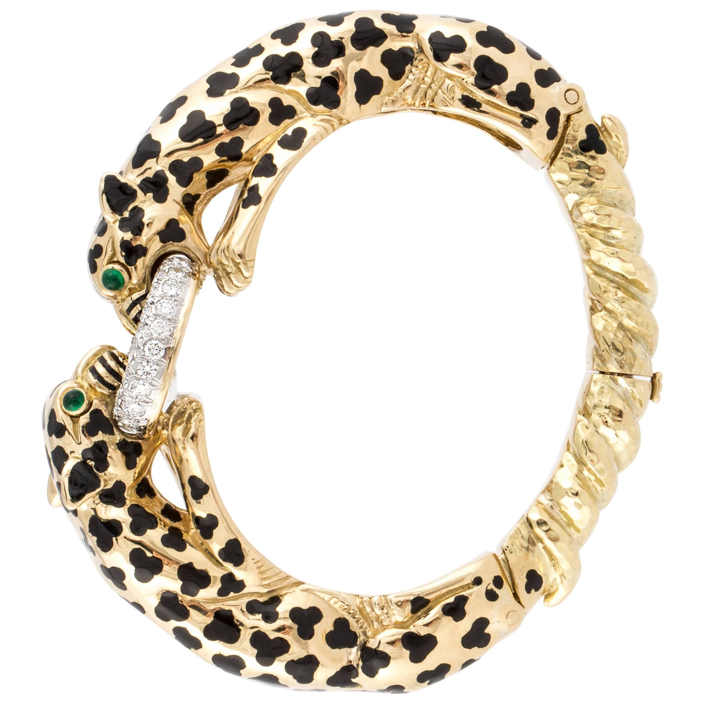 David Webb 18K Yellow Gold Double Leopard Bangle Bracelet