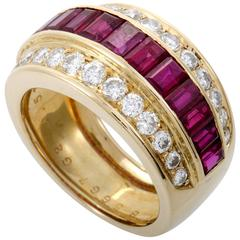Van Cleef & Arpels Diamond Yellow Gold Invisibly Set Ruby Band Ring