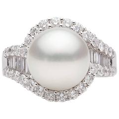 Pearl Diamond White Gold Ring
