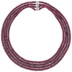 Ruby Necklace on Rare Van Cleef & Arpels Diamond Clasp