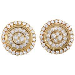 Waltham Diamond Yellow Gold Screw Back Earrings