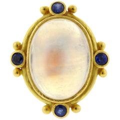 Elizabeth Locke Sapphire Moonstone Cabochon Gold Ring