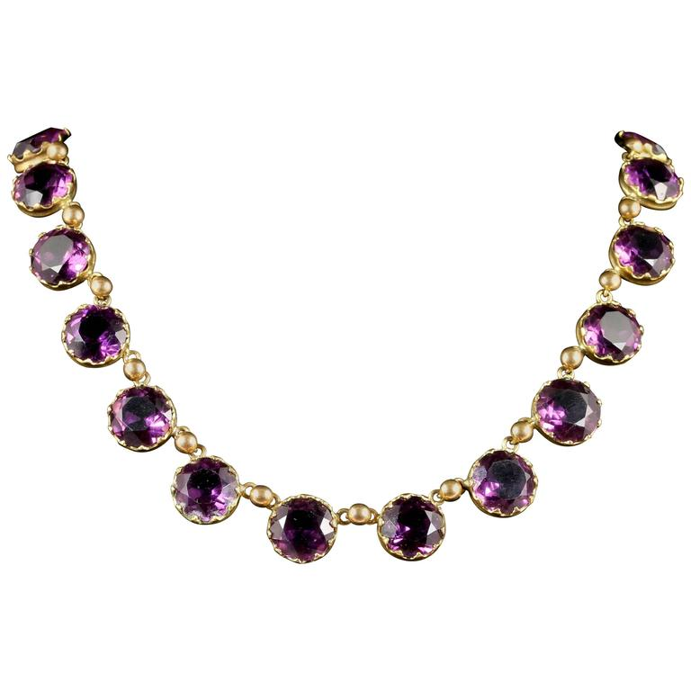 Antique Victorian Purple Paste Necklace, circa 1860