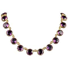 Antique Victorian Purple Paste Necklace, circa 1860