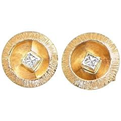 Sunny Sparkling Princess Cut Diamond Gold Stud Earrings