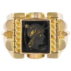 French 19th Century Onyx Intaglio Men's Signet Ring