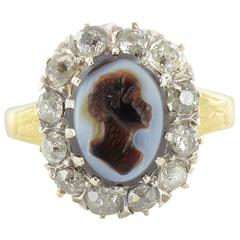 French Napoleon III Agate Cameo and Diamond Cluster Ring