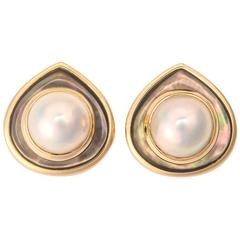 Marina B Pearl Mother-of-Pearl Gold Earrings
