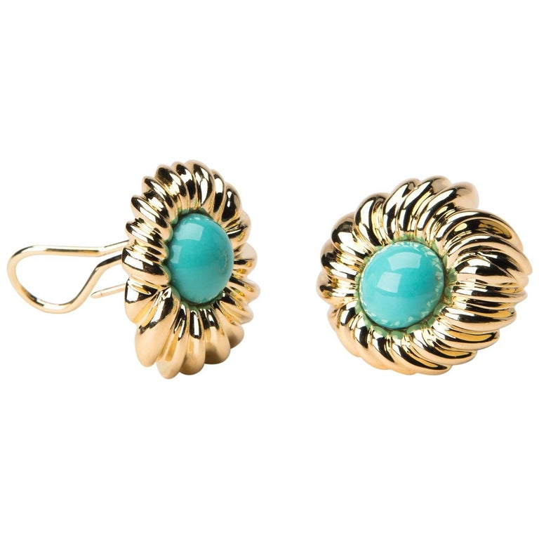 Tiffany & Co. Turquoise Gold Earrings For Sale