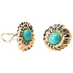 Tiffany & Co. Turquoise and Gold Earrings