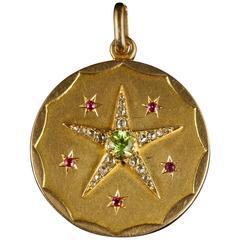 Antique Victorian Suffragette Locket Diamond Peridot Ruby 18 Carat Gold