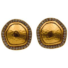 Lika Behar Reflections Diamonds Hammered Yellow Gold Disc Earrings