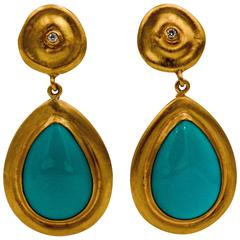 Lika Behar Turquoise Diamond  22kt Yellow Gold Earrings