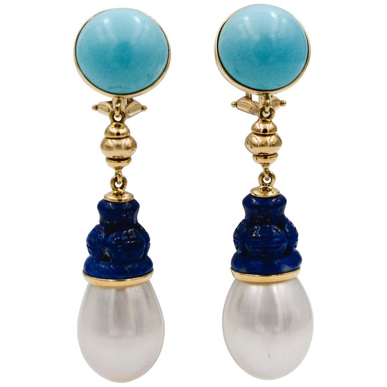 Seaman Schepps Turquoise Carved Lapis Freshwater Pearl Earrings