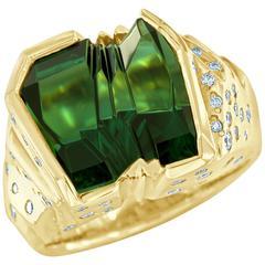 Bernd Munsteiner Green Tourmaline and Diamond Ring