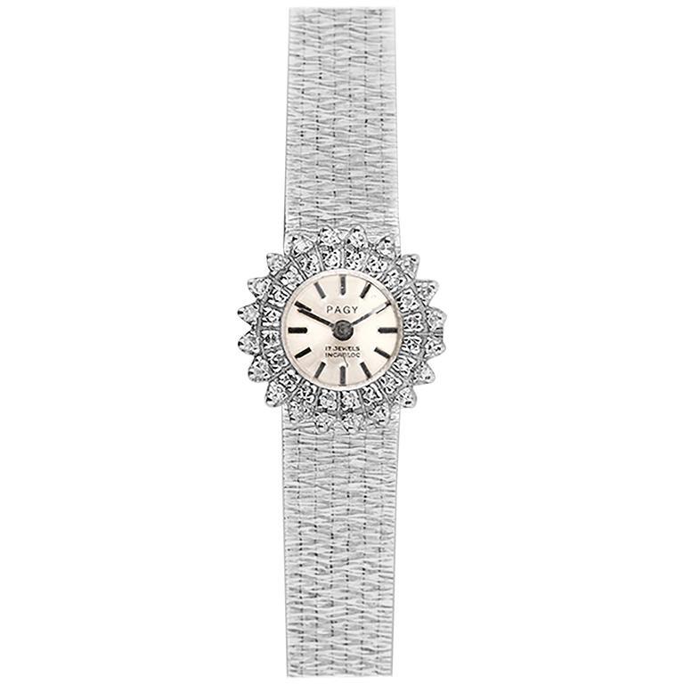 Pagy Ladies White Gold Diamond Manual Wristwatch 1960s  1