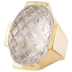 David Webb Carved Rock Crystal Ring