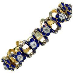Victorian Enamel Diamond Gold Expandable Bracelet