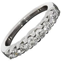 White Gold 8 Round Diamond Woven Shared Prong Wedding Band Anniversary Ring