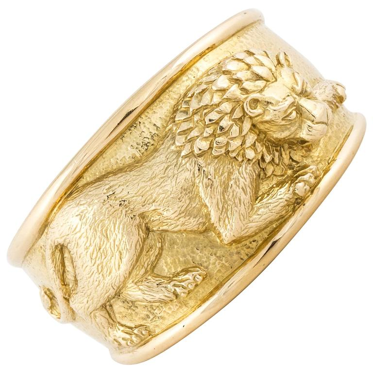 David Webb Lion Cuff Bracelet For Sale