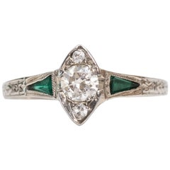 1915 Art Deco .20 Carat Old European Diamond Emerald 18 Karat White Gold Ring