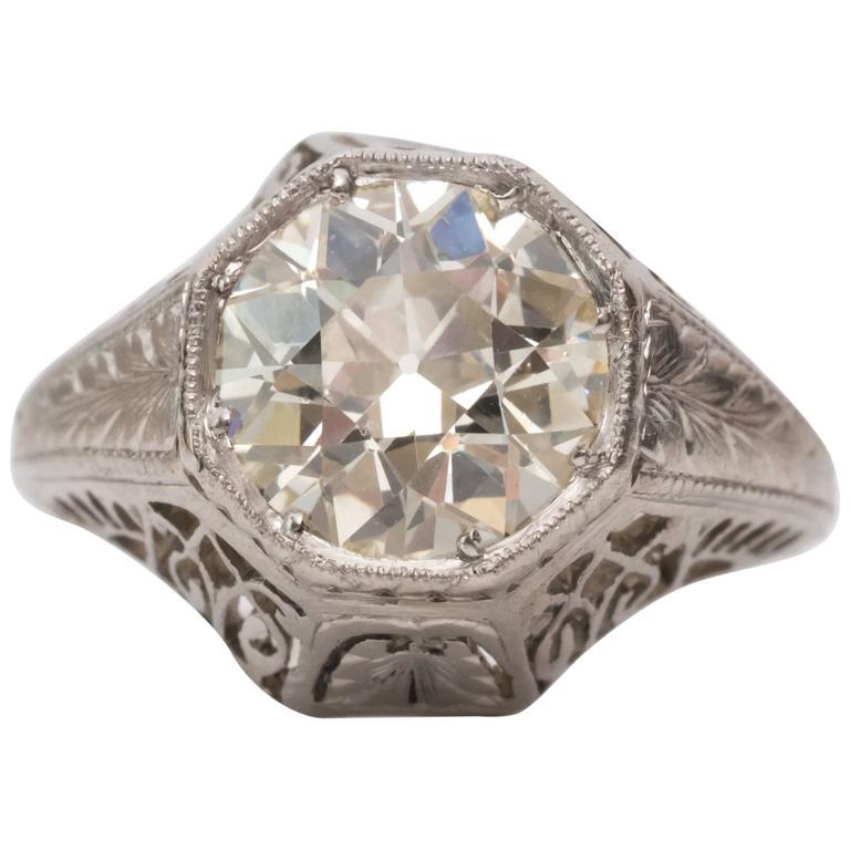 1920s Art Deco GIA 1.45 Carat Old European Diamond Platinum Engagement Ring For Sale