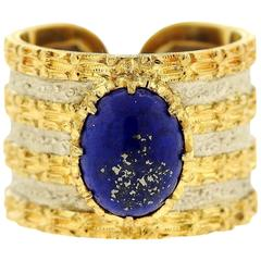 Mario Buccellati Lapis Lazuli Two Color Gold Wide Band Ring