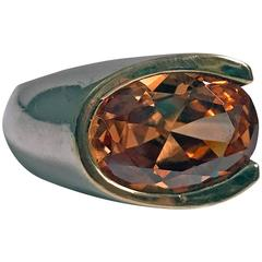 Abstract 1960s Orange Zircon Silver Gold Ring