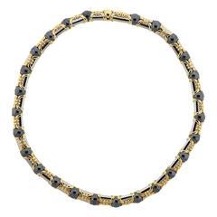 Bulgari Hematite Steel Gold Necklace