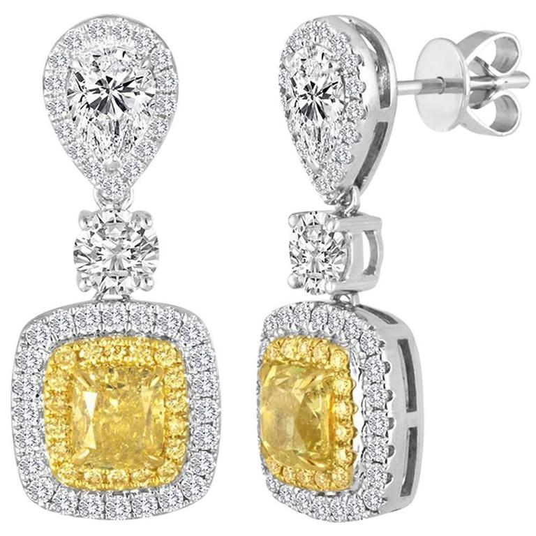 Natural Fancy Yellow Diamond Double Halo Two Color Drop Gold Earring