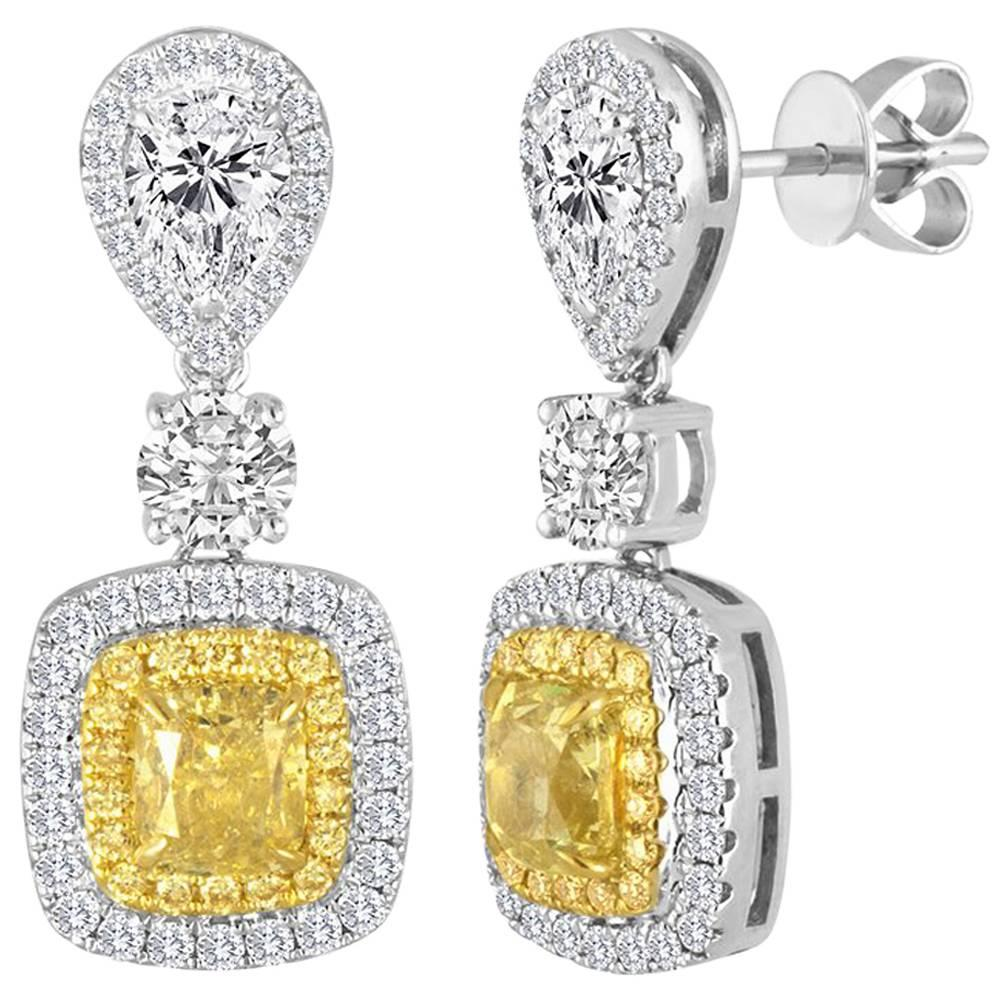 Natural Yellow Diamond Double Halo Two Color Gold Drop Dangle Fashion Earring