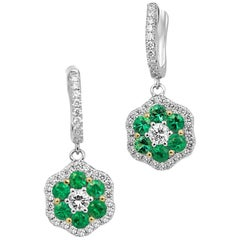 Emerald Diamond Halo Two Color Gold Cluster Dangle Drop Lever Back Earring