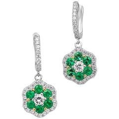 Emerald Diamond Two Color Gold Cluster Dangle Earring