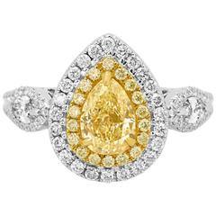 Certified Natural Fancy Yellow Diamond Double Halo Two Color Gold Ring