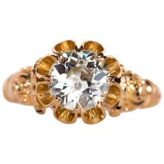 1880s Victorian GIA Certified 1.02 Carat Diamond Yellow Gold Engagement Ring