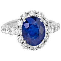 GIA Certified Blue Sapphire Oval Diamond Single Halo Gold Bridal Cocktail Ring