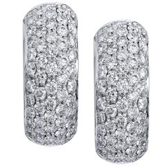 Wide Diamond Pave White Gold Huggie Hoop Earrings