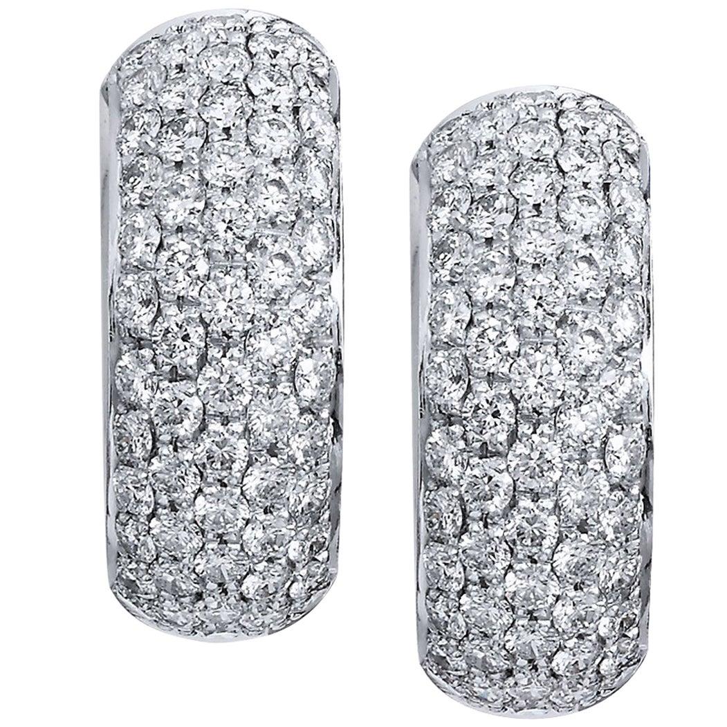 Wide Diamond Pave White Gold Huggie Hoop Earrings
