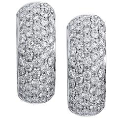 Diamond Pave white gold Hoop Earrings
