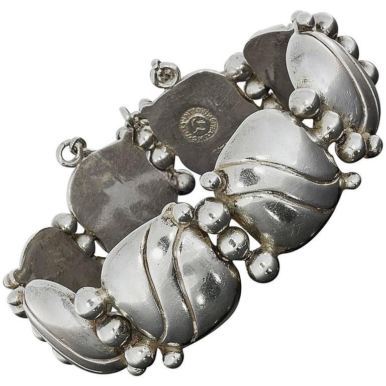 1940s William Spratling Silver Pillow Wave Bracelet For Sale