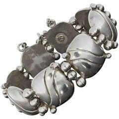 1940s William Spratling Silver Pillow Wave Bracelet