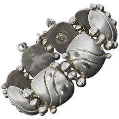 1940s William Spratling Silver Pillow Wave Bracelet