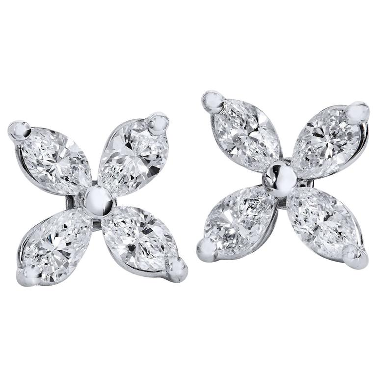 H 0 70 Carat Marquise Cut Diamond Flower Stud Earrings For