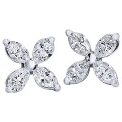 H & H 0.70 Carat Marquise Cut Diamond Flower Stud Earrings