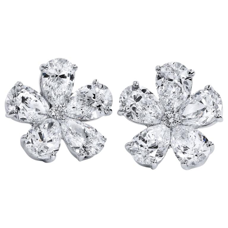 4 41 Flower Shaped Marquise And Round Diamond Stud Earrings For