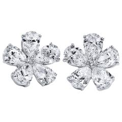 Crivelli 4.41 Flower-Shaped Marquise and Round Diamond Stud Earrings