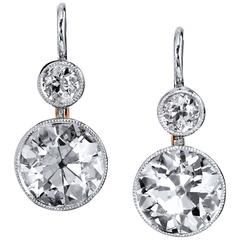 H & H 6.72 Carat Diamond Platinum Rose Gold Lever-Back Earrings